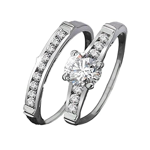minjiSF Anillo de diamante para mujeres y hombres, con forma geométrica, de plata, anillo de compromiso, boda, colgante, temperamento, forma cuadrada, 2 unidades (plata, 10)
