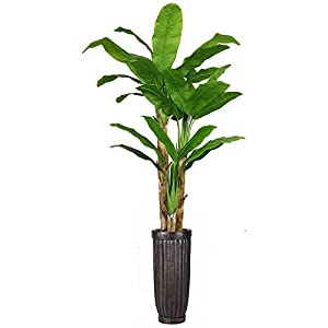 Vintage Home 93″ Tall Banana Real Touch Leaves in Planter Artificial Tree, Green