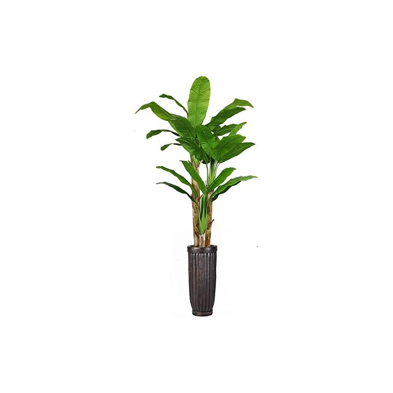 """silk flower arrangements vintage home 93"""" high green emerald artificial faux banana tree with black fiberstone planter for home decor"""