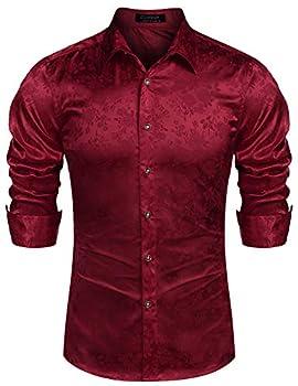 COOFANDY Men s Floral Long Sleeve Dress Shirt Shiny Satin Silk Like Dance Prom Shirt Tops Burgundy