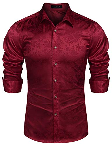 COOFANDY Mens Floral Rose Printed Long Sleeve Dress Shirts Prom Wedding Party Button Down Shirts (XXX-Large  Burgundy)