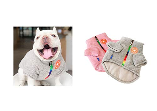 Khemn Bulldogge Hundejacke aus Berber-Fleece, mit Reißverschlüssen, modischer Mantel für Französische Bulldogge/Englische Bulldogge/American Pit Bull...