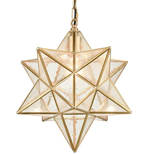 Dazhuan Moravian Star Light Fixture Modern Brass Seeded...