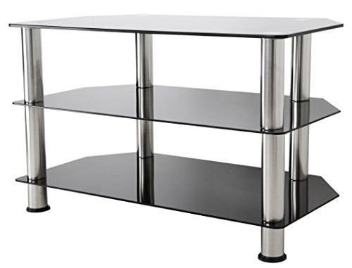 AVF SDC800-A TV Stand for Up to 42-Inch TVs, Black Glass, Chrome Legs