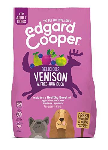 Edgard & Cooper pienso para Perros Adultos sin Cereales, Natural con Venado y Pato Frescos, 2.5kg. Comida Premium balanceada sin harinas de Carne ni Carnes sobreprocesadas cocinada a Baja Temperat