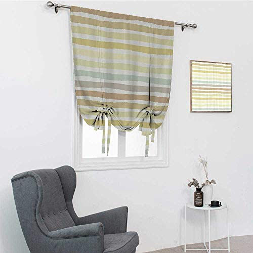 """GugeABC Modern Tie Up Curtains, Abstract Horizontal Striped Paintbrush Color Bands in Soft Tones Artistic Image Tie Up Curtains for Window, Multicolor, 39"""" x 64"""""""