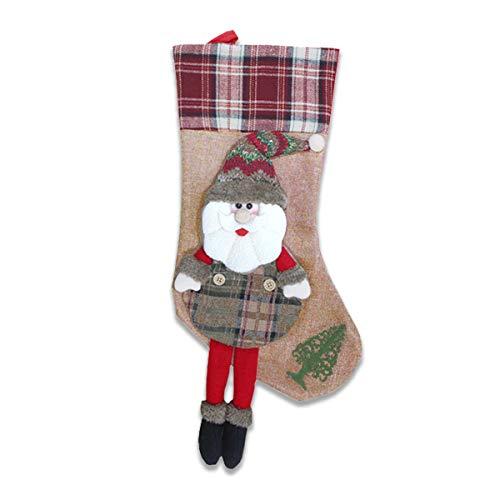 Calza Befana Vuota Grande/Calze di Natale da Riempire con Decorazione 3D Fatta A Mano. Design Tradizionale con Babbo Natale. Decorazioni e Accessori di Natale da Appendere.