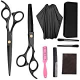 ZCM-MIRROR Ciseaux Coiffure Professionnel Kit,Professional Stainless Steel Home Barber Salon Thinning Shears Kit with Salon Cape Comb Wide Tooth Clips Cleaing Cloth and Black Leather Case