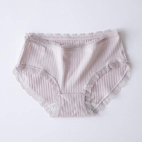 B/H CóModo EláStico Bragas Pantalones,Bragas de Cintura Media con Ribete de Encaje Sexy para Mujer-Púrpura Claro_M # 12pcs,Braguitas Culotte Algodón para Mujer