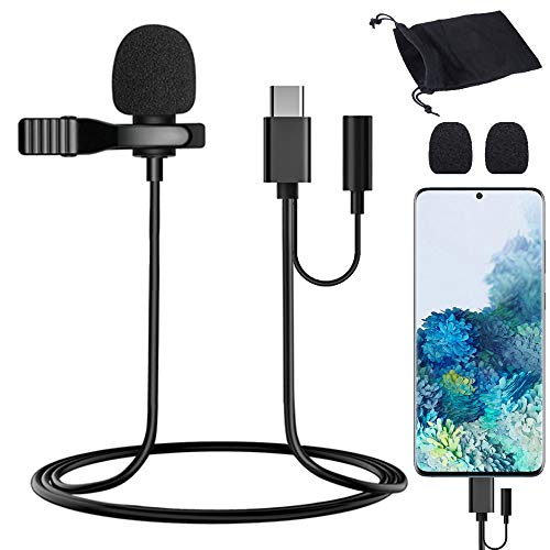 USB Type-C Lavalier Lapel Microphone Condenser Mic for Samsung/Pixel 5 4 3 2/OnePlus/S20/S10/Note 10, USB C Microphone for YouTube Vlogging Facebook Interview Livestream Video Recording (9.8ft)
