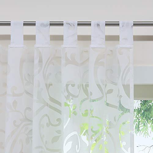 Delien Voile Ausbrenner Gardine mit Ranken Muster transparenter Vorhang mit Schlaufen Wohnzimmer Gardinenschals BxH 140x245cm Weiß 1 St.
