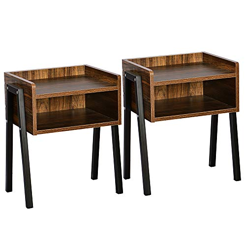 WAYTRIM Vintage Nightstands Industrial-Style Side Table Wooden End Table with Large Storage Rack, Easy Assembly, Multiple Use, Perfect for Living Room, Bedroom, Set of 2, Brown