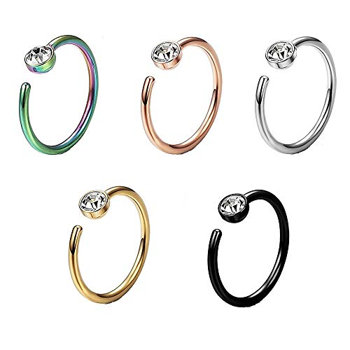 Vixzero 5pcs Fake Nose Rings Stainless Steel Faux Nose Piercing Jewelry Fake Nose Hoop Ring Clip on Circle Hoop Rings No Pierced Septum Nose Ring Women Men Body Jewelry