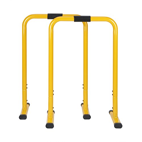 hj Barres de Musculation Traction Hauteur Réglable 76-90cm Gym Crossfit Parallettes Dip Equalisateur Fitness