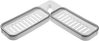 CUTICATE ノントレースソープディッシュコーナースペース回転可能なソープトレイパンチフリーラックホルダー180度回転中空すばやく排水スペースを節約キッチンバスルームACC - ホワイトグレー