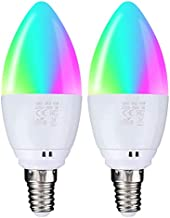 SODIAL Smart WiFi Light Bulb E14 5W(40W Equivalent),App Control Candle Led Bulb,No Hub Required,WiFi LED Light Bulb Voice ...