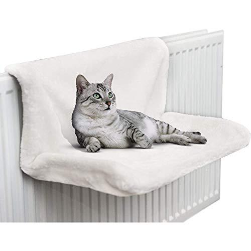 CawBing Cama de radiador colgante para gatos, gatitos y mascotas, cálida cesta de forro polar, hamaca, marco de metal duradero, fuerte y duradera, color blanco
