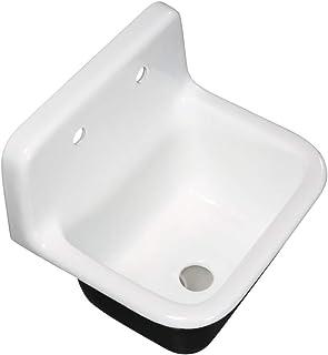 "Kingston Brass GCKWS221822 Petra Galley 22"" Wall Mount Single Bowl Kitchen Sink, White"