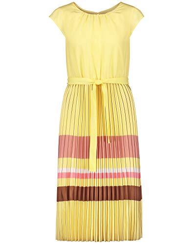 Gerry Weber Damen Kleid Mit Plissiertem Rockteil Tailliert Limonade 46