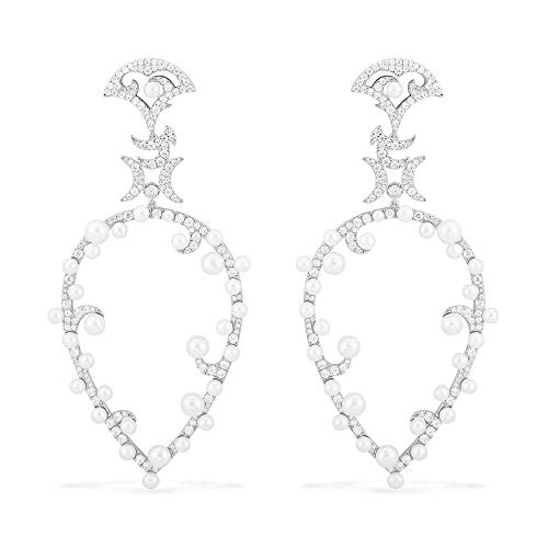 S925 plata de ley micro incrustaciones de diamantes de cristal Una versión casera pendientes de perlas en forma de pera temperamento diosa mujer-plata_925 plata