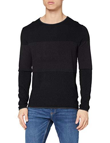 edc by ESPRIT Herren 100CC2I307 Pullover, 002/BLACK 2, XL