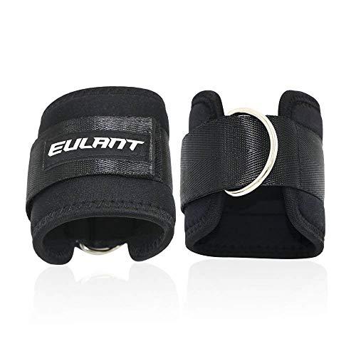 EULANT Premium Fußschlaufen Gepolstert, Ankle Straps gepolstert für Kabelzug, für Beintraining Gym Fitness Training, 2 Stück, Starkem Klettverschluss für Volleinstellung