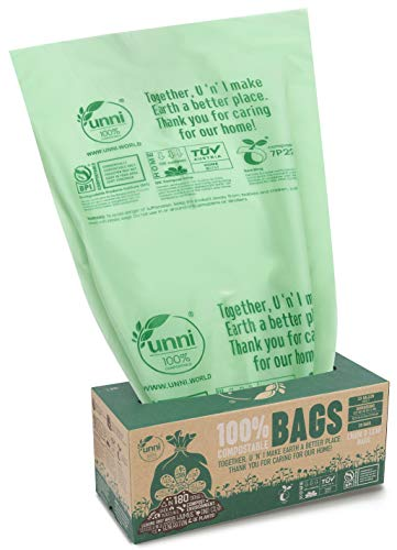 UNNI ASTM D6400 100% Compostable Trash Bags, 30-33 Gallon,124 Liter, 20 Count, Extra Thick 1.1 Mils, Lawn and Leaf Yard Waste Bag, Non-GMO, US BPI and Europe OK Compost Home Certified, San Francisco