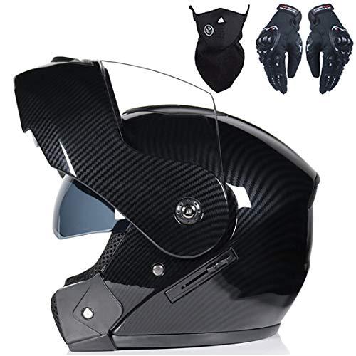 Casco integral con guantes, doble visera, casco modular abatible para motocicleta, casco de motocross, casco protector de motocicleta para adultos y jóvenes