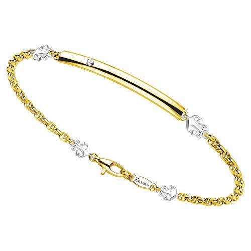 Zancan Pulsera para hombre de oro amarillo y blanco | ancla – Insignia Gold – EB691GB