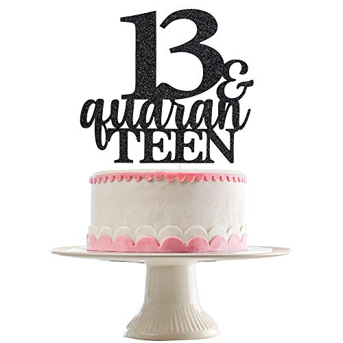 13 and Quarantined Cake Topper- Black Glitter, Cake Topper 13th Quaranteen Birthday, Quaranteen Cake Topper, Cake Toppers 13th Birthday, 13th Birthday Decorations for Boys(Double Sided Glitter)