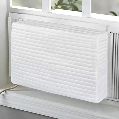BJADE'S Indoor Air Conditioner Cover 28L x 20H x 4D inches for Window AC Unit,Double Insulation Inside Quilted Covers,White