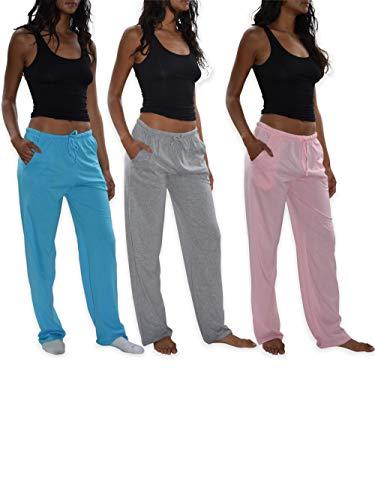 Sexy Basics Women's 3 Pack Soft Flex-Cotton Knit Pajama Pants/Lounge Pants/Sleep Pants (3 Pack-Pink/Tahiti Blue/Grey, X-Large)