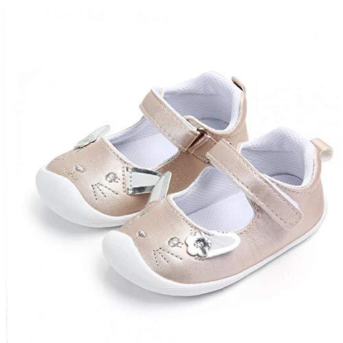 Feewerain Baby-PU-Leder-Schuhe Anti-Rutsch-Sohle Magie-Aufkleber-Entwurf Schuhe Mokassins Krippe Schuhe Indoor Prewalker Schuhe Gold-13.5cm