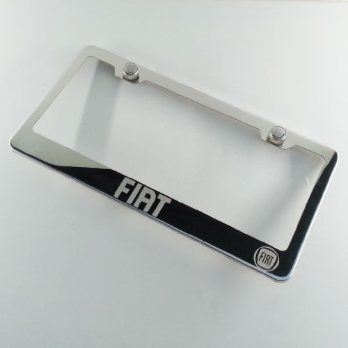 "Polish Chrome Laser Engraved Fit Fiat Stainless Steel USA License Plate Frame With Engraved Steel Logo Screw Cap Combo 12.25"" x 6.5"""