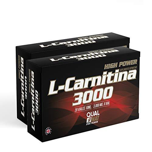 L Carnitina 3000-20 viales   Líquida   L-carnitina Con Vitamina C   Quemagrasas   Suplemento de Apoyo para la pérdida de peso   Transforma la grasa en energía - Qualnat, PACK 2-40 Viales