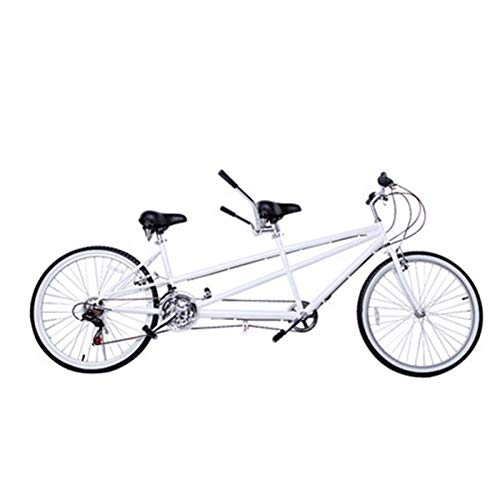 TWW Bicicleta 26 Pulgadas Bicicleta para Padres E Hijos Ocio Bicicleta para Varias Personas Bicicleta De Velocidad Variable Pareja Bicicleta De Viaje En Tándem,Blanco