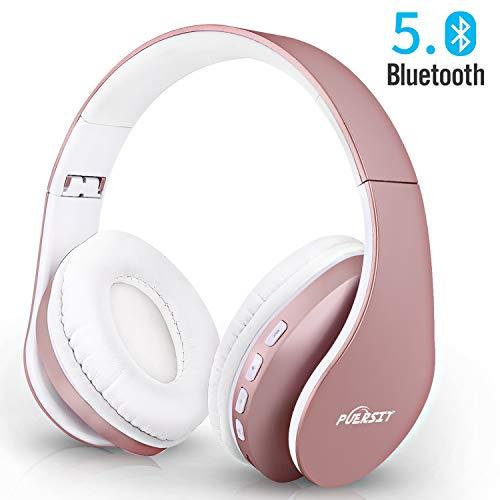 Bluetooth Kopfhörer Kabellos Over-Ear, Puersit Faltbar Wireless Kopfhörer Hi-Fi Stereo Bass-Sound mit Mikrofon für Handys/iPad/Laptops/PC (Rose Gold)