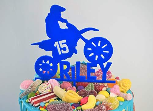 Personalised Birthday Cake Topper Biking Motorcross Motobike Dirt Bike Extreme Sport Party Decor Male Boys Laser Cut Acrylic