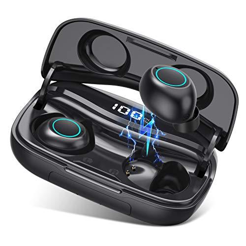 VOOE S9 Cuffie Bluetooth 5.0 Bassi Potenziati Auricolari Bluetooth Senza Fili IPX7 Impermeabili Cuffie Wireless Sportivi in Ear CVC 8.0 con 3500mAh Custodia da Ricarica, Microfono per iOS Android PC