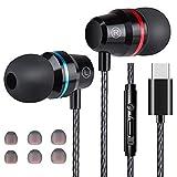 Losvick Écouteurs USB Type C Intra-Auriculaires, Écouteurs Filaire [Anti-Bruit Casque] Audio avec Microphone pour Huawei P30 Pro/P20/Mate 20 Pro et Autres appareils d'interface de Type C - Noir