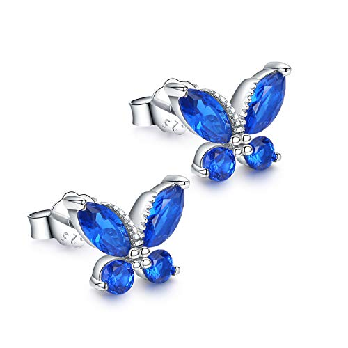 Cute Girls Earrings Blue Butterfly Stud Earrings,925 Sterling Silver Hypoallergenic Kids Earrings Birthday Mothers Day Gifts for Women