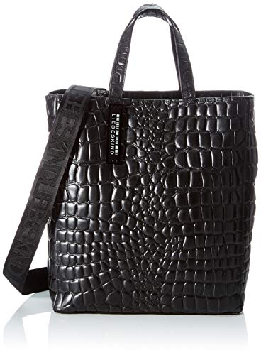 Liebeskind Berlin Tote, Paper Bag Tote Kroko, Small, black