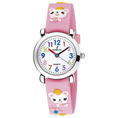 Reloj infantil niña caja de acero pulsera de caucho