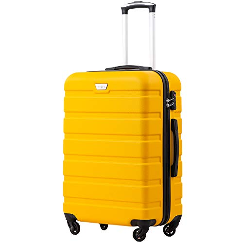 COOLIFE Suitcase Trolley Carry On Hand Cabin Luggage Hard Shell Travel Bag Lightweight 2 Year Warranty Durable 4 Spinner Wheels (Yellow, L(77cm 93L))