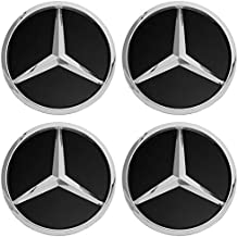 Motorup America Wheel Center Cap for Mercedes Benz Accessories - (Pack of 4) Wheels Tire Hub Rim Caps Best for 75mm MB Rims Car Accessory - Black AMG Logo Emblem Covers