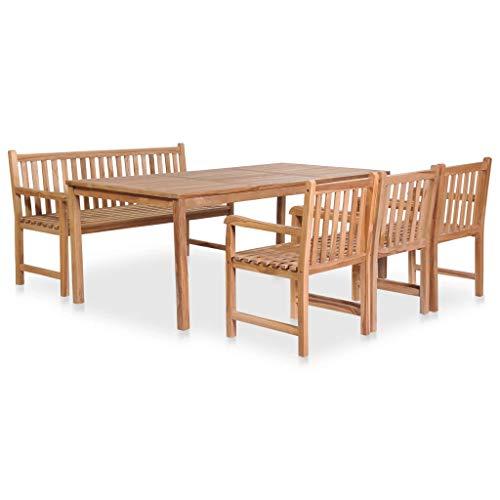 vidaXL Teak Garden Furniture 5-Piece Garden Furniture Set Bench Chair