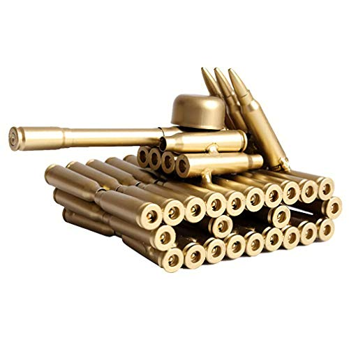 Singeek Bullet Shell Casing Shaped Army Tank Metal Sculpture,Great Decorative Artwork Model Gift for Home,Study Room Decorations (95 Tank)