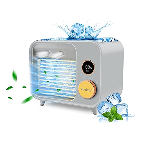 Portable Air Cooler, ZUUKOO Mobile Air Conditioner, Evaporative Cooler, Humidifier, USB Rechargeble Desk Fan With 5 Adjustable Speeds,300ml Water Tank, LED Night Light for Home,Office,Dorm,Camping