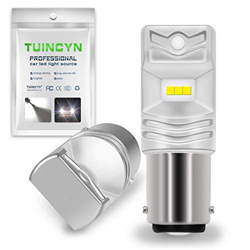 TUINCYN Bombilla superluminosa LED BA15D SMD 80W CSP Chips de 1600 lúmenes, universalmente utilizada en faros antiniebla y Luces de circulación Diurna de automóvile, de 12 a 24 V de CC (2 unidades)