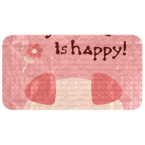 Tubmats Original Alfombrilla de baño antideslizante para bebés, niños, ducha infantil (68,3 x 37,3 cm) Funny Pig My Name Is Happy